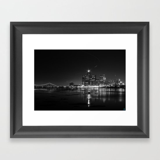 Detroit Skyline at night by alfesdesigns
