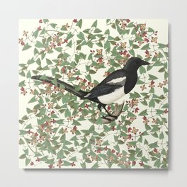 In the thicket - Magpie Metal Print