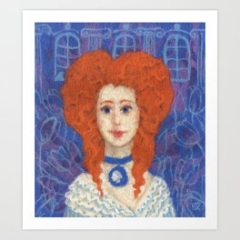 Red Hair, Ginger Lady, Wool Painting Art Print