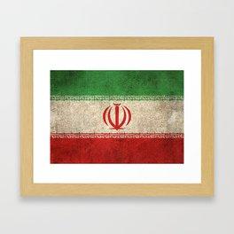 Old and Worn Distressed Vintage Flag of Iran Framed Art Print
