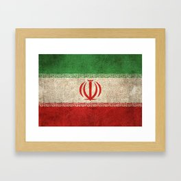 Old and Worn Distressed Vintage Flag of Iran Framed Art Print