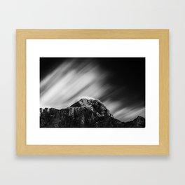 Clouds rolling above mountain Mangart Framed Art Print