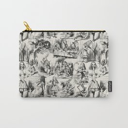 Alice in Wonderland | Toile de Jouy Pattern | Black | Beige | Vintage Pattern | Victorian Gothic | Carry-All Pouch