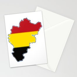 Belgium Map with Belgian Flag Stationery Cards