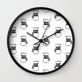 Chemex coffee maker black and white linocut minimal kitchen foodie pattern Wall Clock