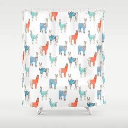 Llamas with Jumpers Shower Curtain