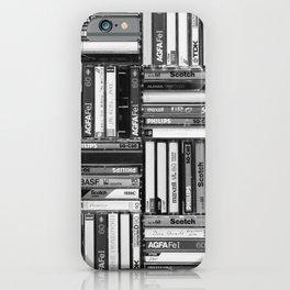 Music Cassette Stacks - Black and White - Something Nostalgic IV #decor #society6 #buyart iPhone Case
