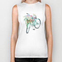 Vintage Aquamarine Bicycle with Flower Basket Biker Tank