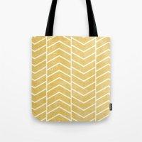 chevron Tote Bags featuring Yellow Chevron by Zeke Tucker