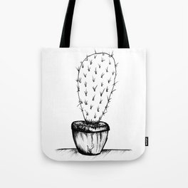 prickly black and white cactus Tote Bag