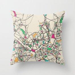 Colorful City Maps: Seoul, South Korea Throw Pillow