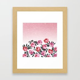 Pink and Red Girly Rose Flowers and Glitter Ombre Framed Art Print