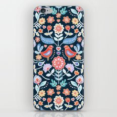 Happy Folk Summer Floral on Navy iPhone Skin