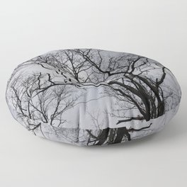 Black naked trees, creepy forest Floor Pillow