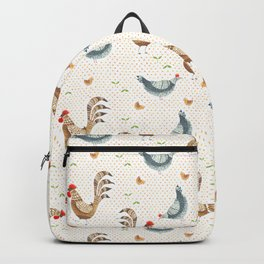 Folk chicken print with polka dots Backpack