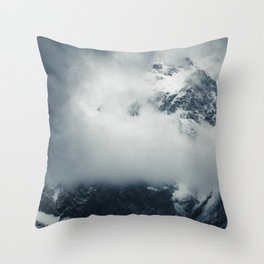 Darkness and mysterious clouds over the mountain Throw Pillow