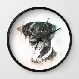 Labrador Retriever Digital Watercolor Painting Wall Clock