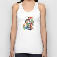 justice league Tank Tops featuring Justice League Hug! by Super Group Hugs