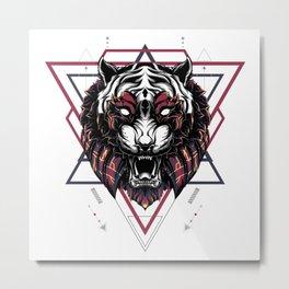 The Mythical Tiger sacred geometry Metal Print