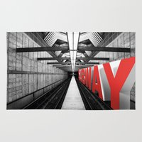 subway Area & Throw Rugs featuring LA subway by Vin Zzep