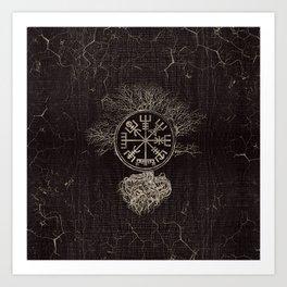 Vegvisir  and Tree of life  -Yggdrasil Art Print
