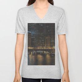 Chicago Skyline Nightshot Unisex V-Neck
