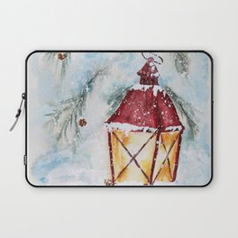 Snowy Red Lantern in the Pines Watercolor Laptop Sleeve