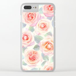 Faded Vintage Painted Roses Clear iPhone Case