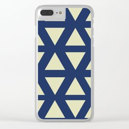 Geometry in Gold and Blue Clear iPhone Case