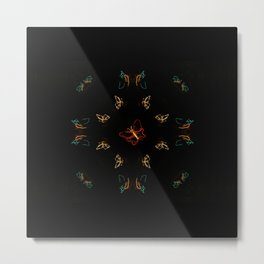 Christmas Lights Pattern - Butterfly Metal Print