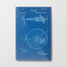 1881 Velocipede Patent - Blueprint Style Metal Print