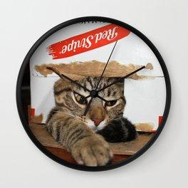 Red Stripe Kitty Wall Clock