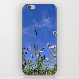 Field of blooming wildflowers on a beautiful summer day iPhone Skin