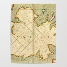 Vintage Map of Antigua (1702) Poster