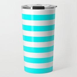 Narrow Horizontal Stripes - White and Aqua Cyan Travel Mug