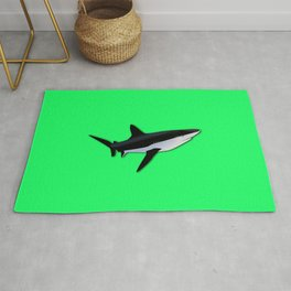 Great White Shark  on Acid Green Fluorescent Background Rug
