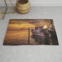 Fishing Boat and Gulls at Sunrise in Aransas Pass Harbor Rug