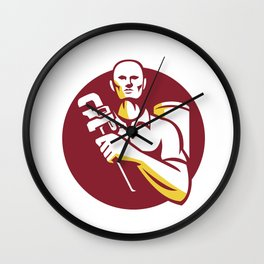 Plumber Monkey Wrench Front Circle Retro Wall Clock
