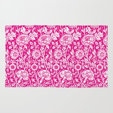 "William Morris Floral Pattern | ""Pink and Rose"" in Hot Pink and White Rug"