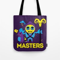 skeletor Tote Bags featuring SKELETOR by Maioriz Home