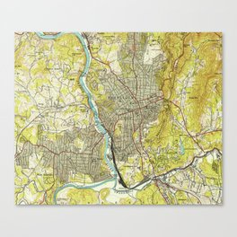 Vintage Map of Asheville North Carolina (1943) Canvas Print