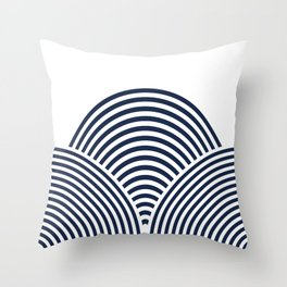 Rolling Hills in Delft Blue Throw Pillow