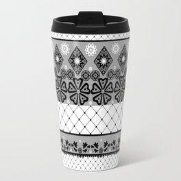 Бело черный  орнамент  . Travel Mug