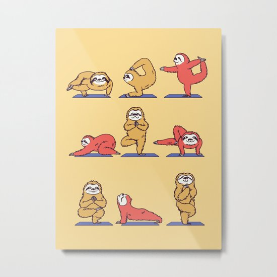 Sloth Yoga Metal Print