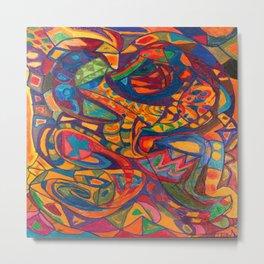Sea Dog in a Colorful Sea Metal Print