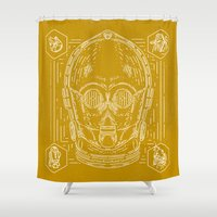 c3po Shower Curtains featuring C3PO by Jon Deviny