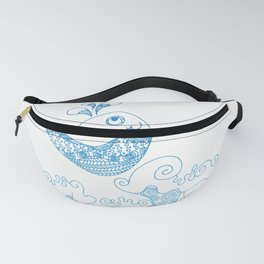 Doodle fish jumping out of the water - Maritime Sea Animal Fanny Pack