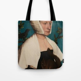 PORTRAIT OF A LADY WITH A SQUIRREL AND A STARLING - HANS HOLBEIN Tote Bag