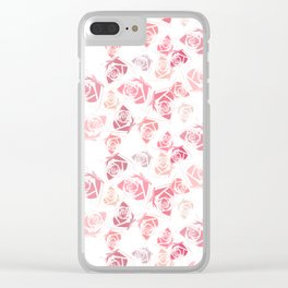 pink rose pattern Clear iPhone Case