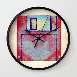 Posterized Floppy Disk Impression. Wall Clock
